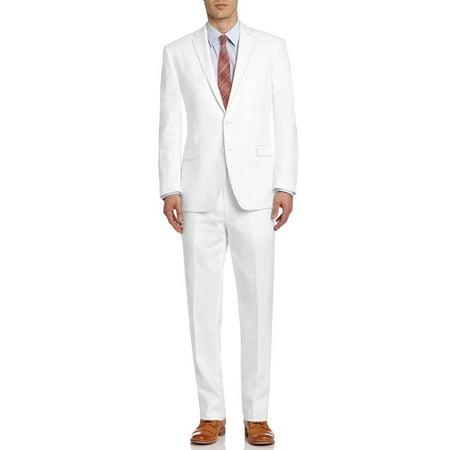 DTI BB Signature Italian Men's Suit Linen Two Button Jacket 2 Piece Modern Fit Snow White