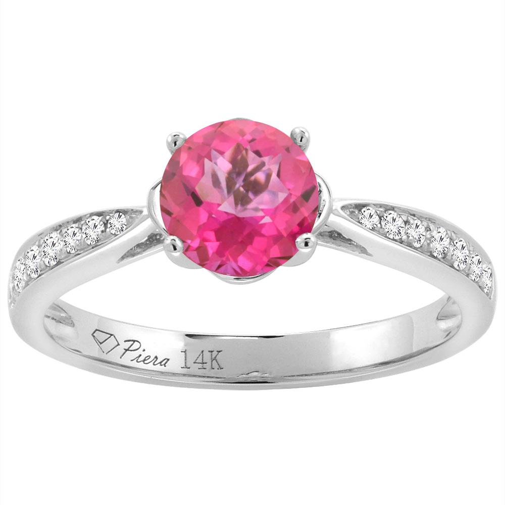 14K White Gold Diamond Natural Pink Topaz Engagement Ring Round 7 mm ...