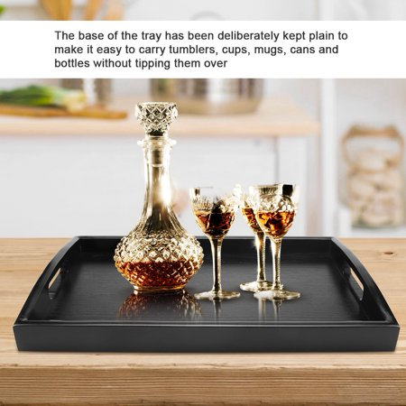LAFGUR Large Wood Serving tea Water Drinks Tray Wooden Breakfast Tea Serving Tray With Handle, Serving Tray With Handle, Wooden Breakfast Tea Tray ()