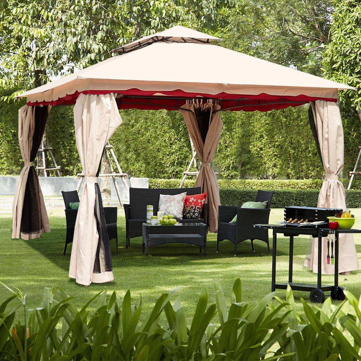 Gymax 13'x10'Outdoor Canopy Gazebo Art Steel Frame Party Patio Canopy Gazebo W/Netting