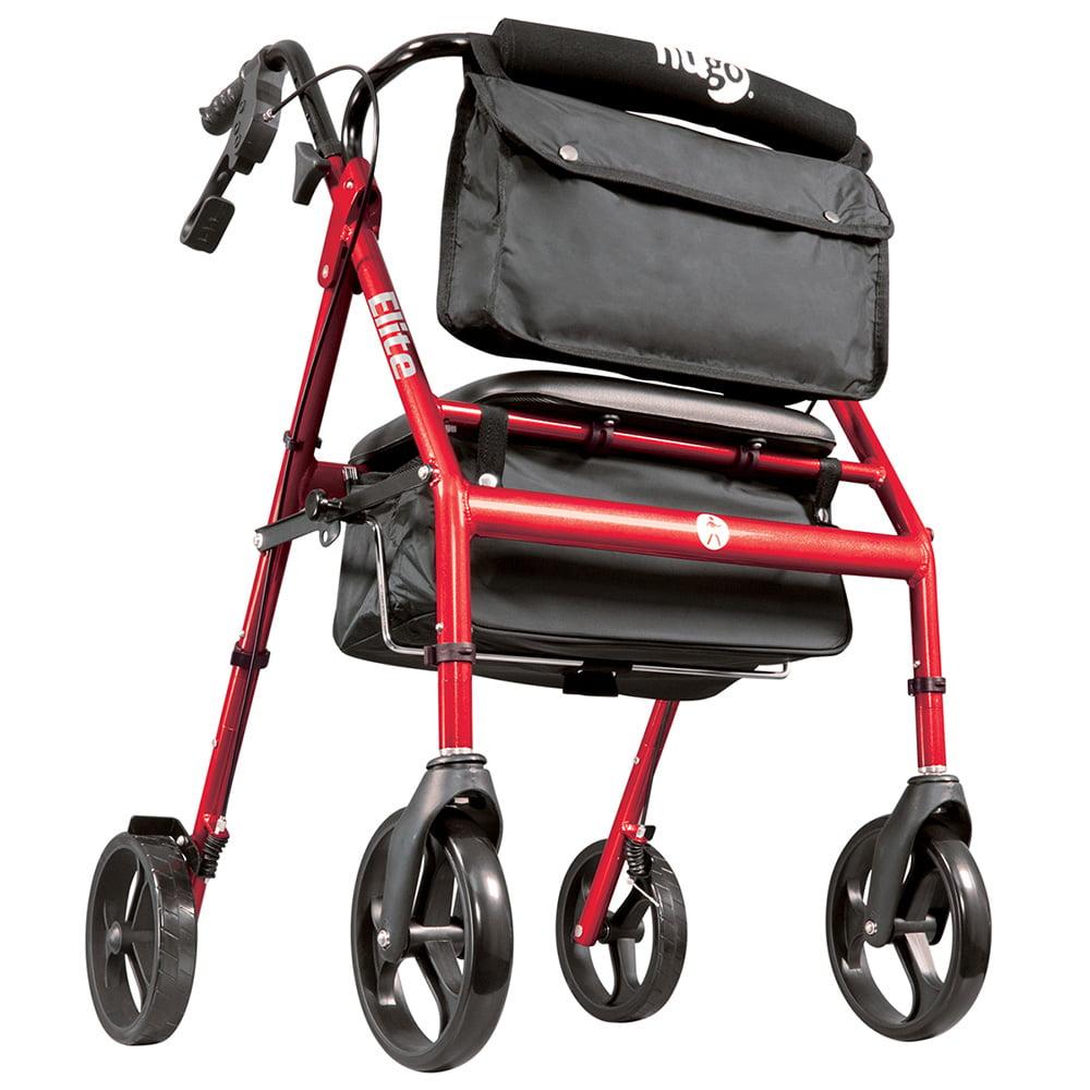 Hugo Elite Rollator Rolling Walker with Seat, Backrest and Saddle Bag, Garnet Red