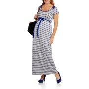 Maternity Short Sleeve Striped Maxi Dress with Lace Back