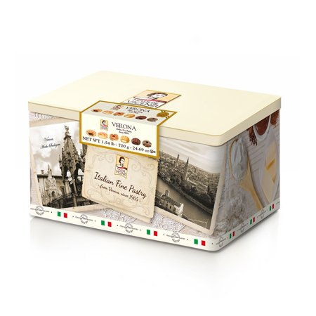 Large Cookie Tin - Matilde Vicenzi Italian Pastry and Cookie Tin (1.54 lbs.)