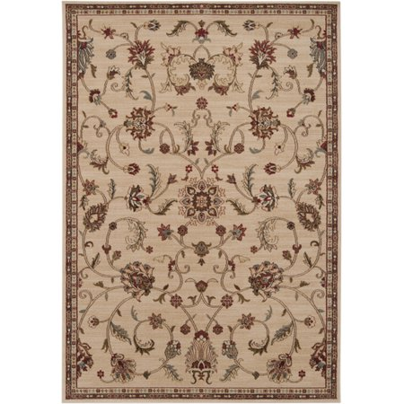 2' x 3.25' Majestic Garden Brown and Tan Shed-Free Rectangular Area Throw Rug ()