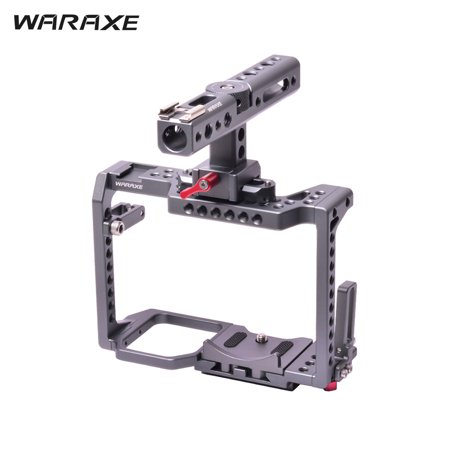 WARAXE Professional Video Camera Cage Film Movie Making Rig Cage Kit with Top Handle Cold Shoe for Panasonic GH4/GH5 Cameras to Mount Microphone Monitor LED (Best Monitor For Gh4)