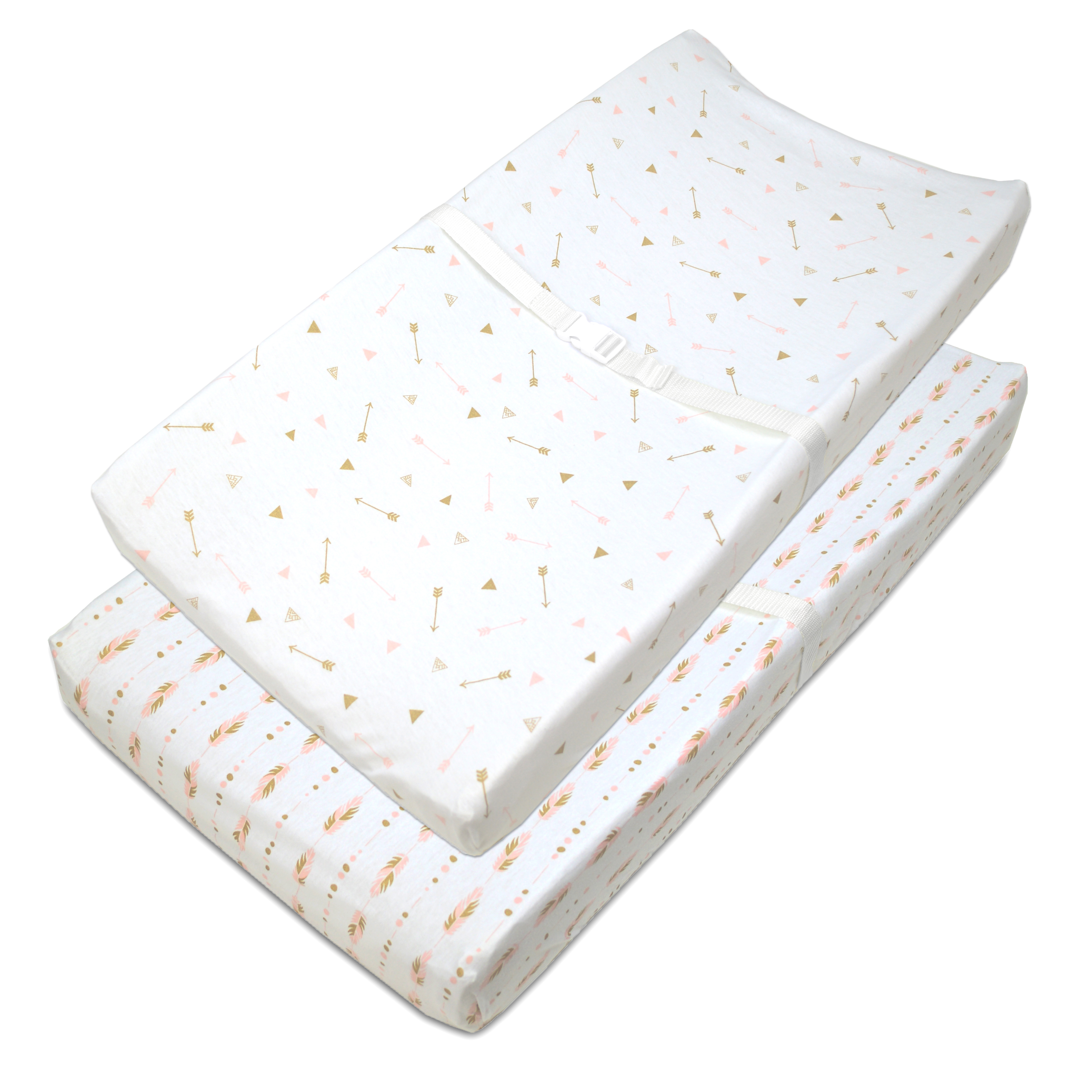 American Baby Company Heavenly Soft Chenille Fitted Contoured Changing Pad Cover,/Sparkle Gold Feather on Solid Grey for Boys and Girls