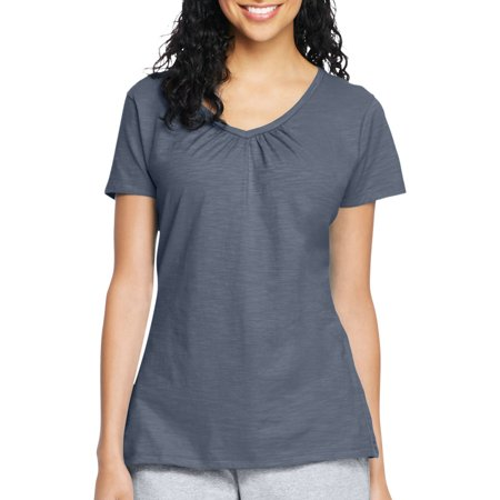 Hanes Womens Slub Shirred V Neck T Shirt
