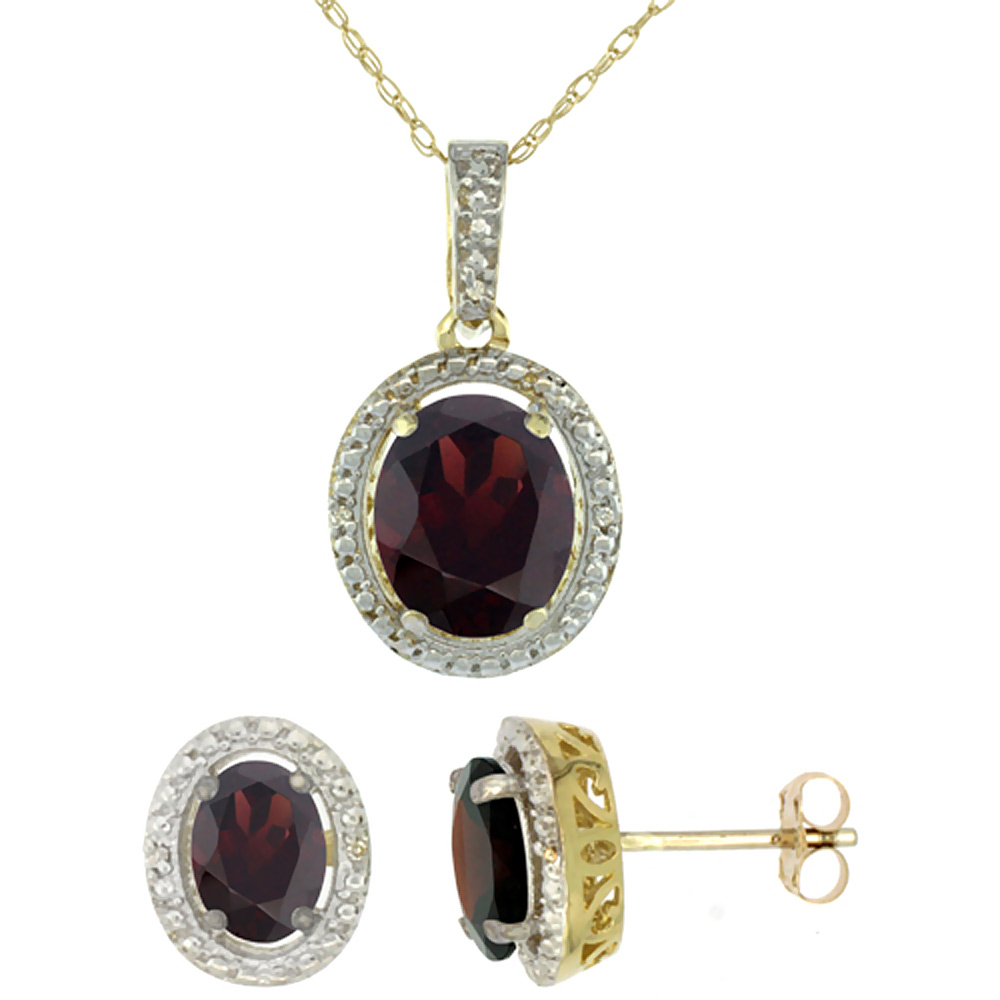 10K Yellow Gold Natural Oval Garnet Earrings & Pendant Set Diamond Accents by WorldJewels