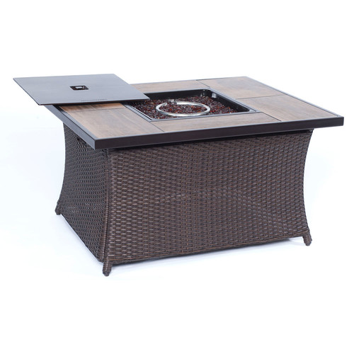 Cambridge Outdoor 40,000 BTU Woven Firepit Coffee Table with Wood Grain Tile Top by Overstock