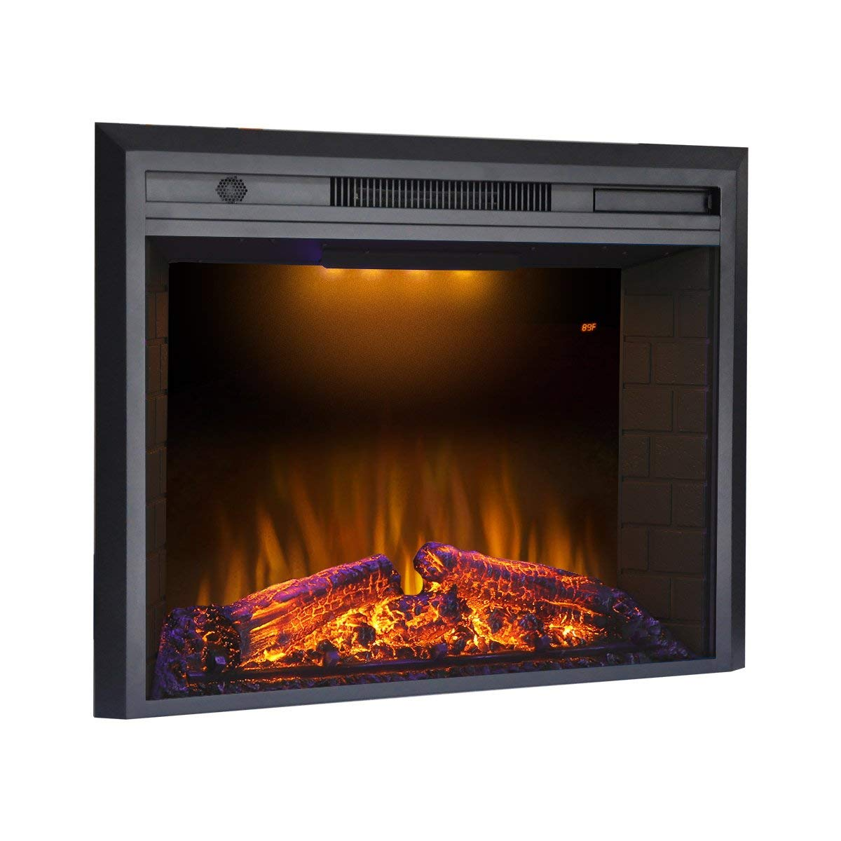 "Valuxhome Houselux 36"" 750W/1500W, Electric Fireplace Insert with Log Speaker, Remote Control, Black"