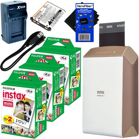 Fujifilm Instax Share Smartphone Printer Sp 2  Gold    Instax Mini Instant Film  60 Sheets    Rechargeable Battery   Ac Dc Charger   Herofiber  Cleaning Cloth