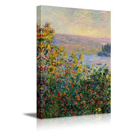 Impressionist Canvas Art (Wall26 - Claude_Monet - Flower Beds at Vetheuil - Impressionist Modern Art - Canvas Art Home Decor - 24x36 inches)