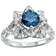 Noori Collection Noori 14k White Gold 1 3/5ctw Blue Round Diamond Lotus Flower Engagement Ring