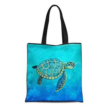 ASHLEIGH Canvas Tote Bag Ocean Sea Turtle Nursery Water Wildlife Pottery Barn Reusable Handbag Shoulder Grocery Shopping Bags