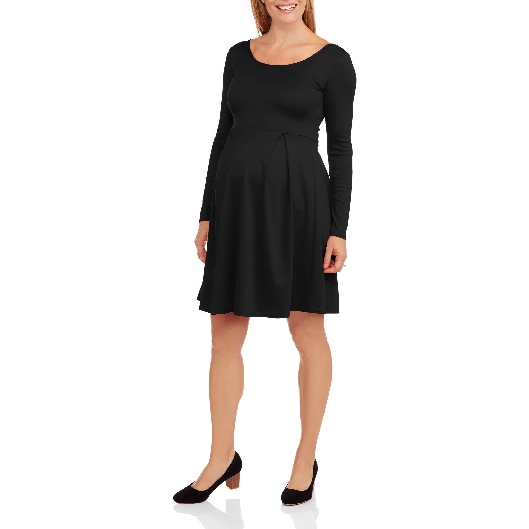 Star Vixen Maternity Long Sleeve Scoop Neck Babydoll Dress