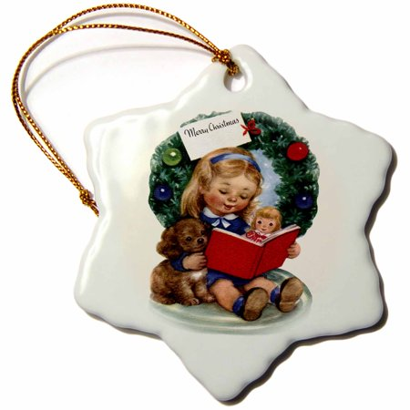 3dRose Cartoon Figurine of a Girl Reading to Dog and Doll with Wreath Behind, Snowflake Ornament, Porcelain, 3-inch