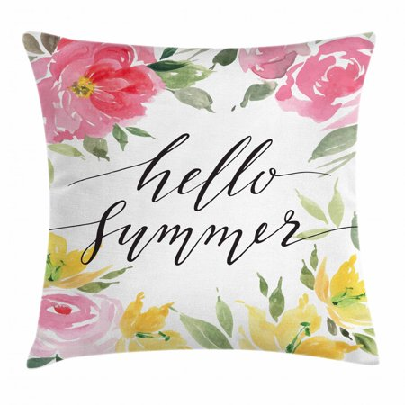 Quote Throw Pillow Cushion Cover, Hand Lettering Hello Summer Message with Waterolor Style Blossoming Seasonal Flowers, Decorative Square Accent Pillow Case, 18 X 18 Inches, Multicolor, by Ambesonne ()