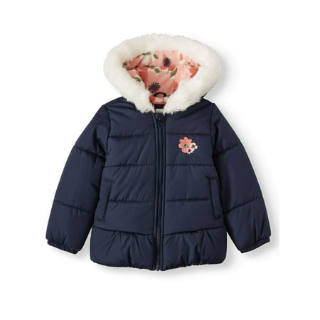 Child of Mine by Carter's Baby Toddler Girl Faux Fur Hooded Bubble Jacket Winter Coat Girls Faux Fur Coats