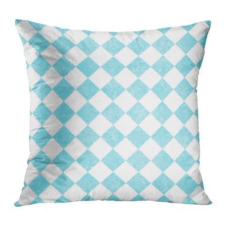 ECCOT Blue Abstract Pale Teal and White Diagonal Checkers That is and Antique Aqua Checkered Checks Chic PillowCase Pillow Cover 16x16