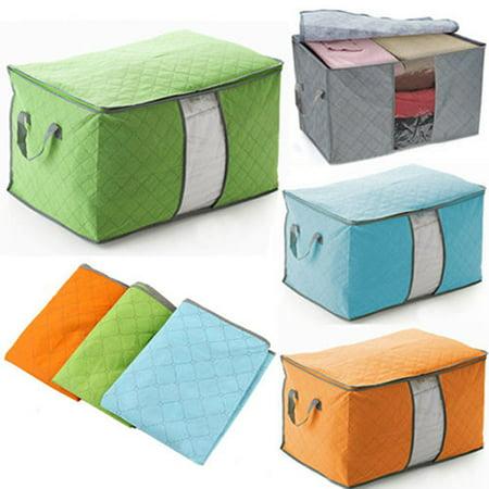 HiCoup Portable Bamboo Charcoal Clothes Blanket Large Folding Bag Storage Box Organizer