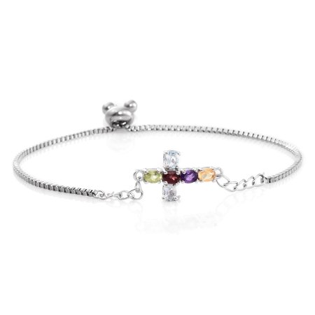 Multi Gemstone Platinum Plated Br Magic Ball Side Cross Bracelet Adjule 0 97 Cttw