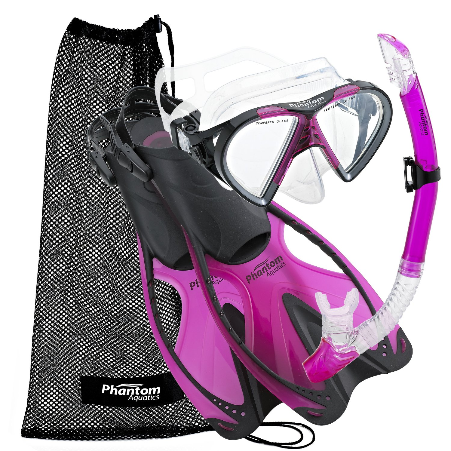 Phantom Aquatics Speed Sport Mask Fin Snorkel Set Adult, Pink - Large/X-Large/Size 9 to 13