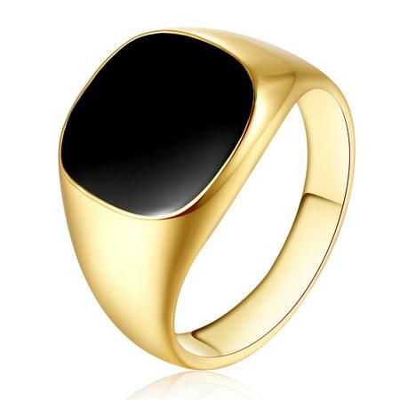 Solid Polished Copper Band Biker Men Signet Ring Black Gold 11 ()