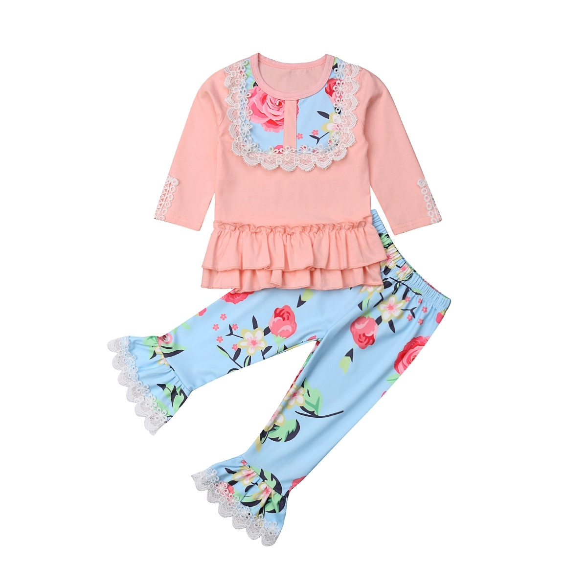 Fashion Toddler Kids Baby Girls Clothes Ruffle Tops Flared Long Pants Outfits