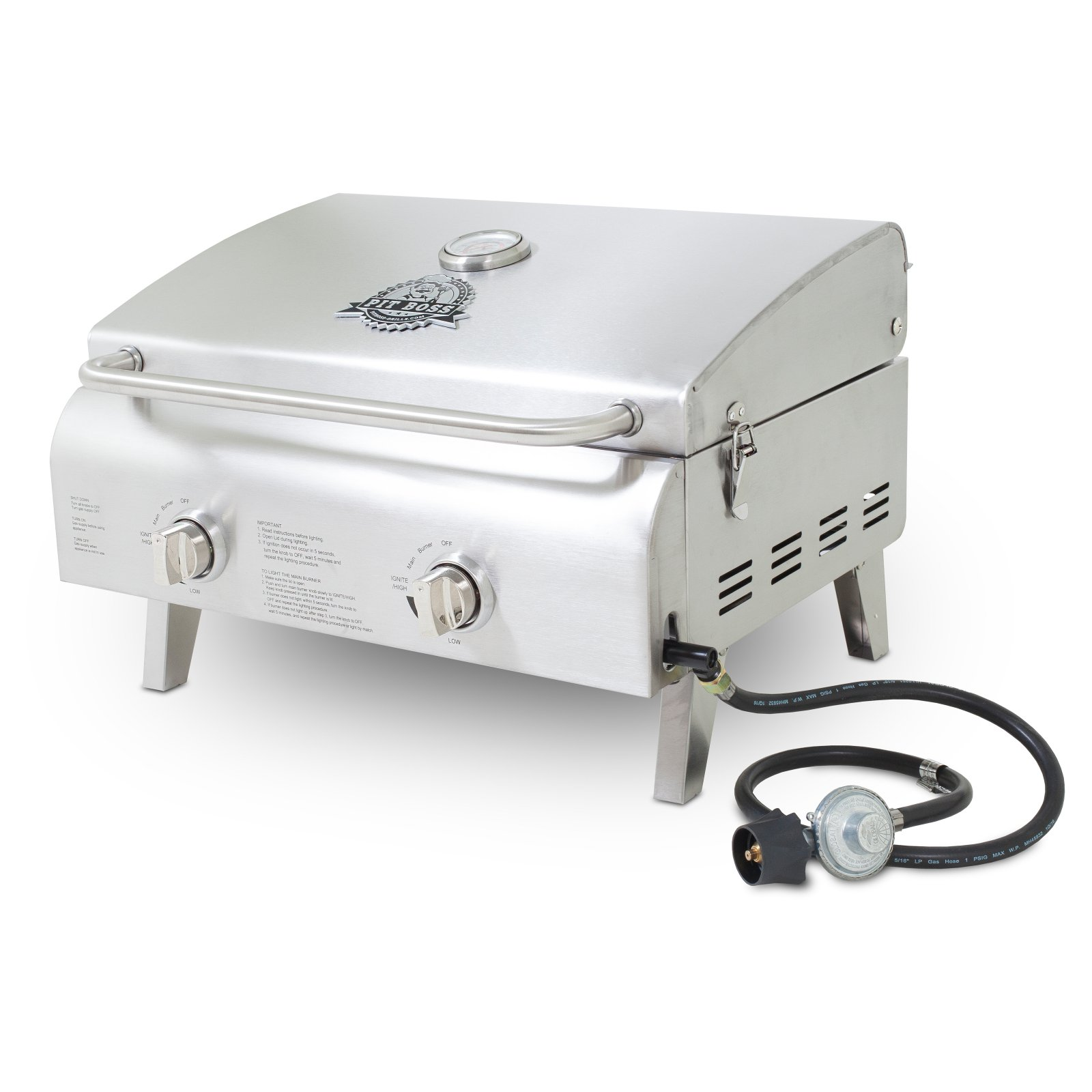 Pit Boss 2-Burner Portable LP Gas Grill, Stainless Steel by Dansons Inc.