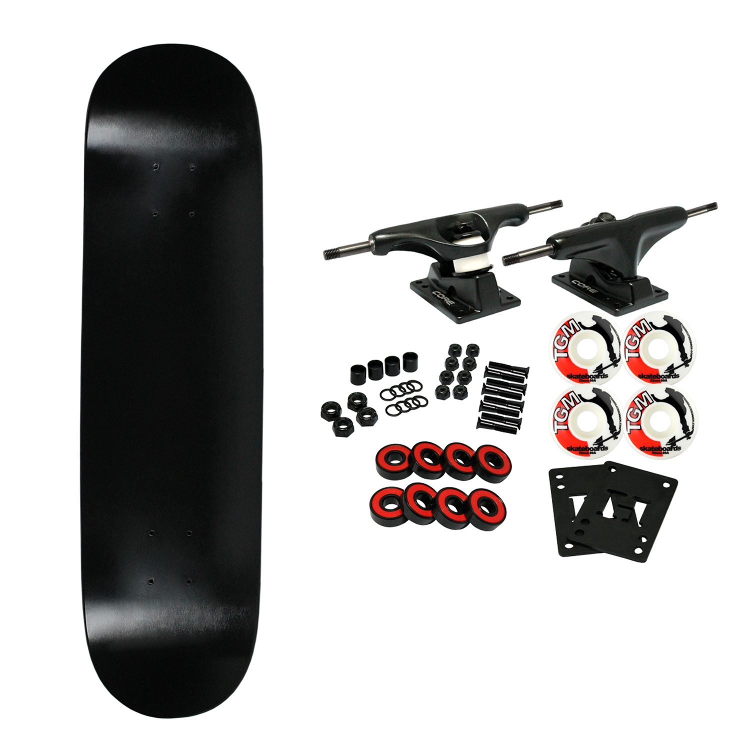 "Moose Complete Skateboard DIPPED BLACK 7.5"" Black/White"