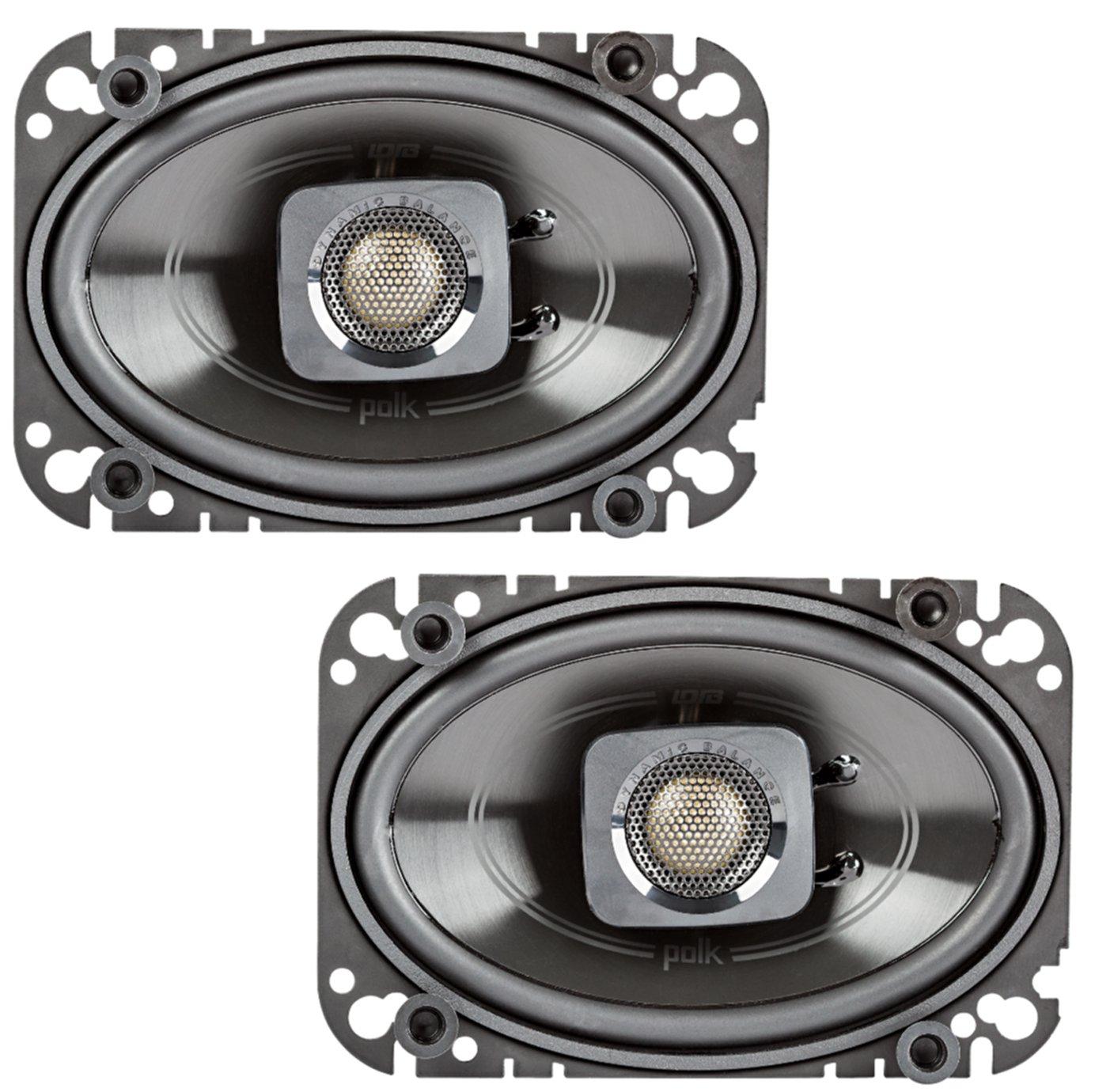 "Polk Audio DB462 4x6"" 150W 2-Way Car/Marine Coaxial Speakers Stereo Black"