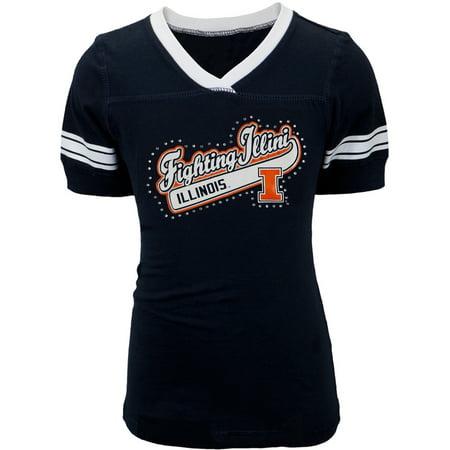Illinois Fighting Illini - Rhinestone Swoop Logo Girls Juvy T-Shirt