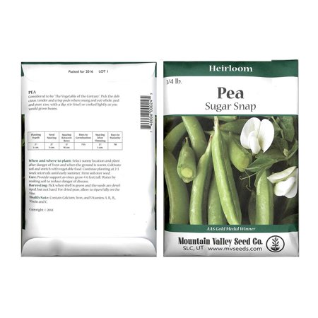 Snap Pea Seeds - Sugar Snap Variety - 4 Oz Seed Packet - Heirloom, Non-GMO Vegetable Garden - AAS Gold Medal Winner (Gold Medal Floss Sugar)