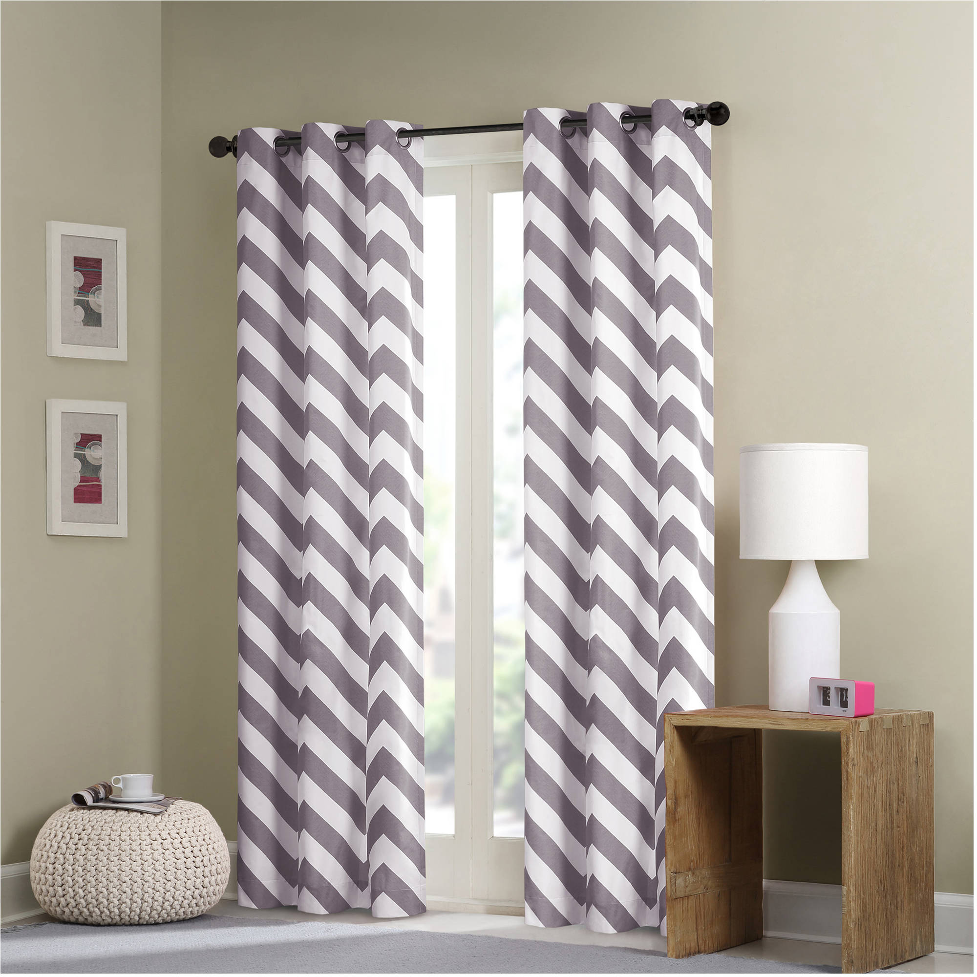 Home Essence Apartment Leo Chevron Window Curtain Pair