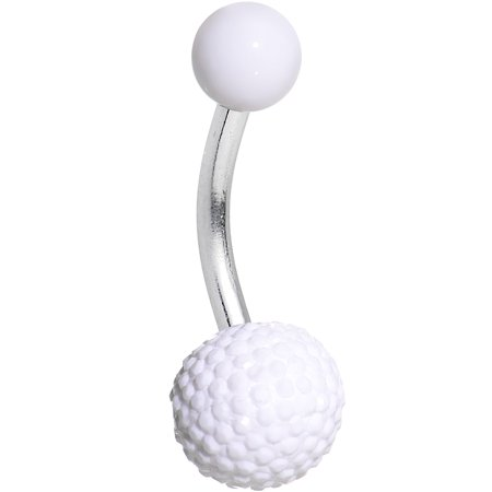 Body Candy Stainless Steel White UV Acrylic Textured Bottom Ball Belly Button Ring
