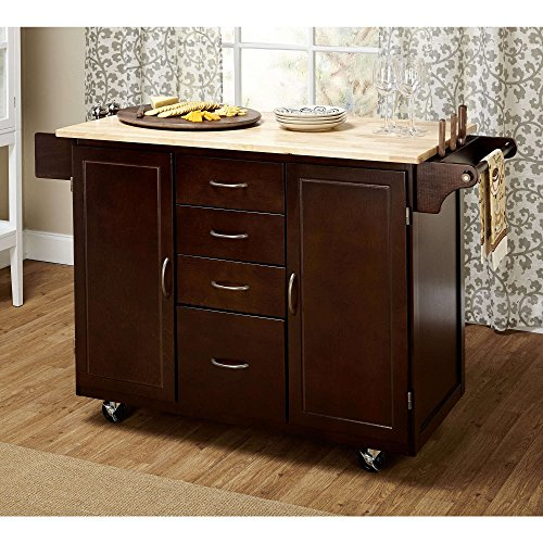 Contemporary Country Style Mobile Kitchen Island Rolling Cart Wooden Frame  4 Storage Drawers And 2