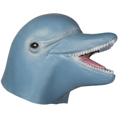 Loftus Halloween Dolphin Costume Full Head Mask, Blue White, One Size - Halloween Costume White Mask