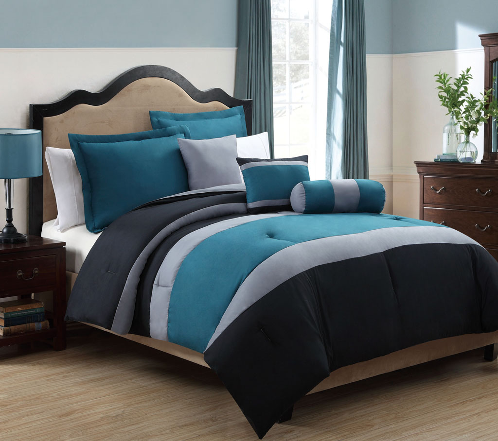 10 Piece Queen Tranquil Teal And Gray Bed In A Bag W 500tc