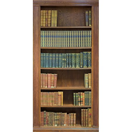 Bookcase mural one piece peel stick canvas wall mural for Bookshelf mural wallpaper