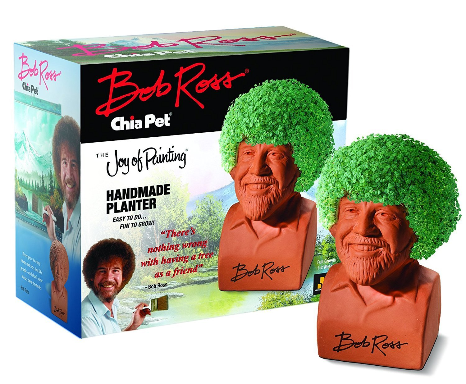 Pet Bob Ross Contains Handmade Pottery Planter Chia Seed Packet For 3 Plantings Convenient Plastic Drip Tray Planting And Care Instructions By Chia Walmart Com Walmart Com