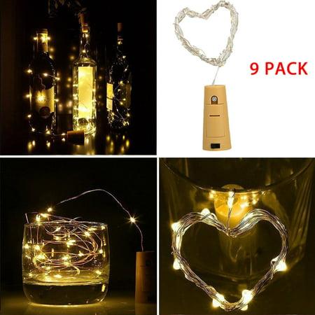 9-Pack Wine Bottle Lights, EEEKit  20 LED 6.6ft Wine Bottle Cork Lights Fairy Starry String Light Indoor Outdoor Decoration Lamp for Party Home Garden Wedding, Warm White ()
