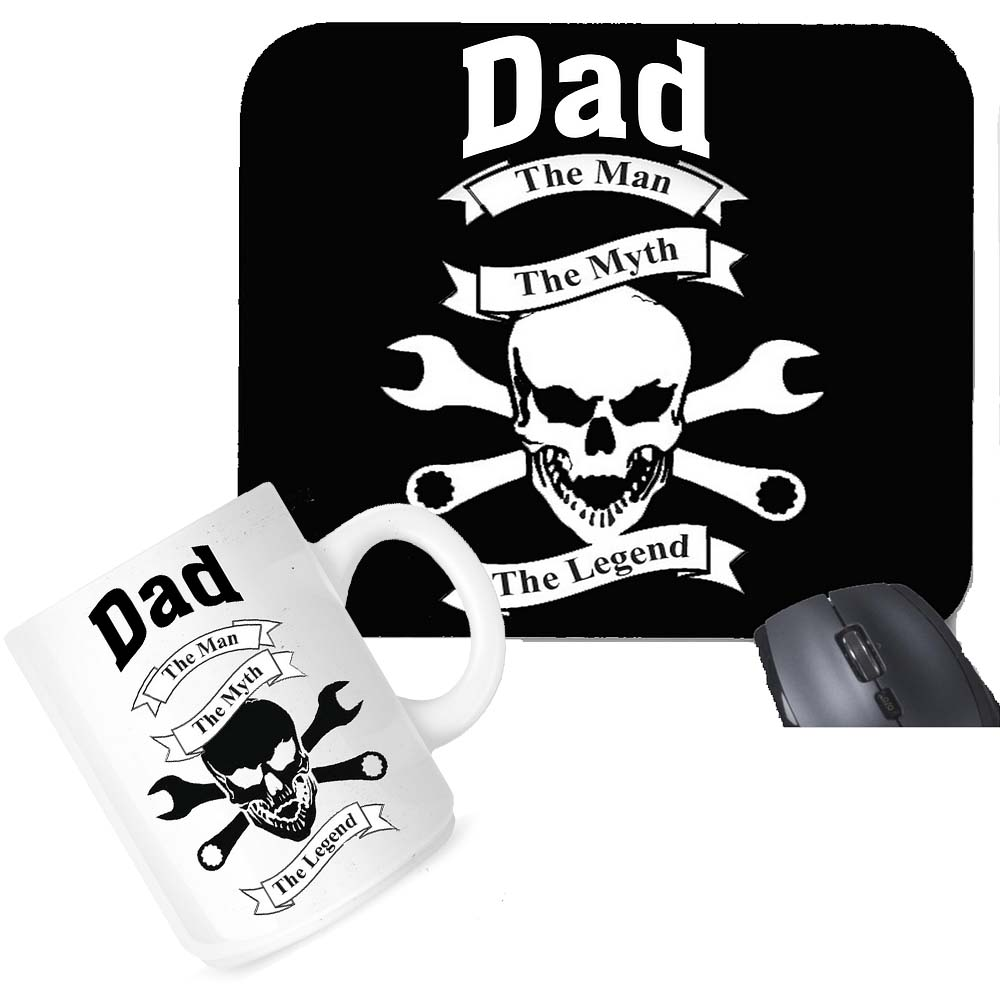 Dad The Man The Myth The Legend Mouse Pad Coffee Mug Office Set Gift Package