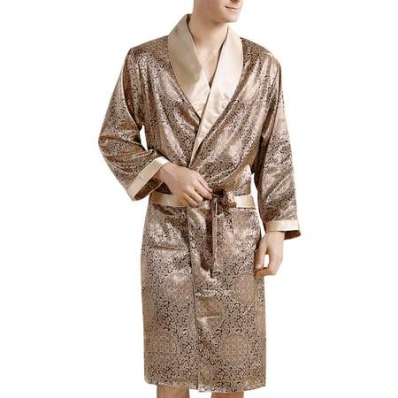 d78688bf0f Yiwa Men s Comfortable Sleepwear 100% Silk Satin Robe Bathrobe ...