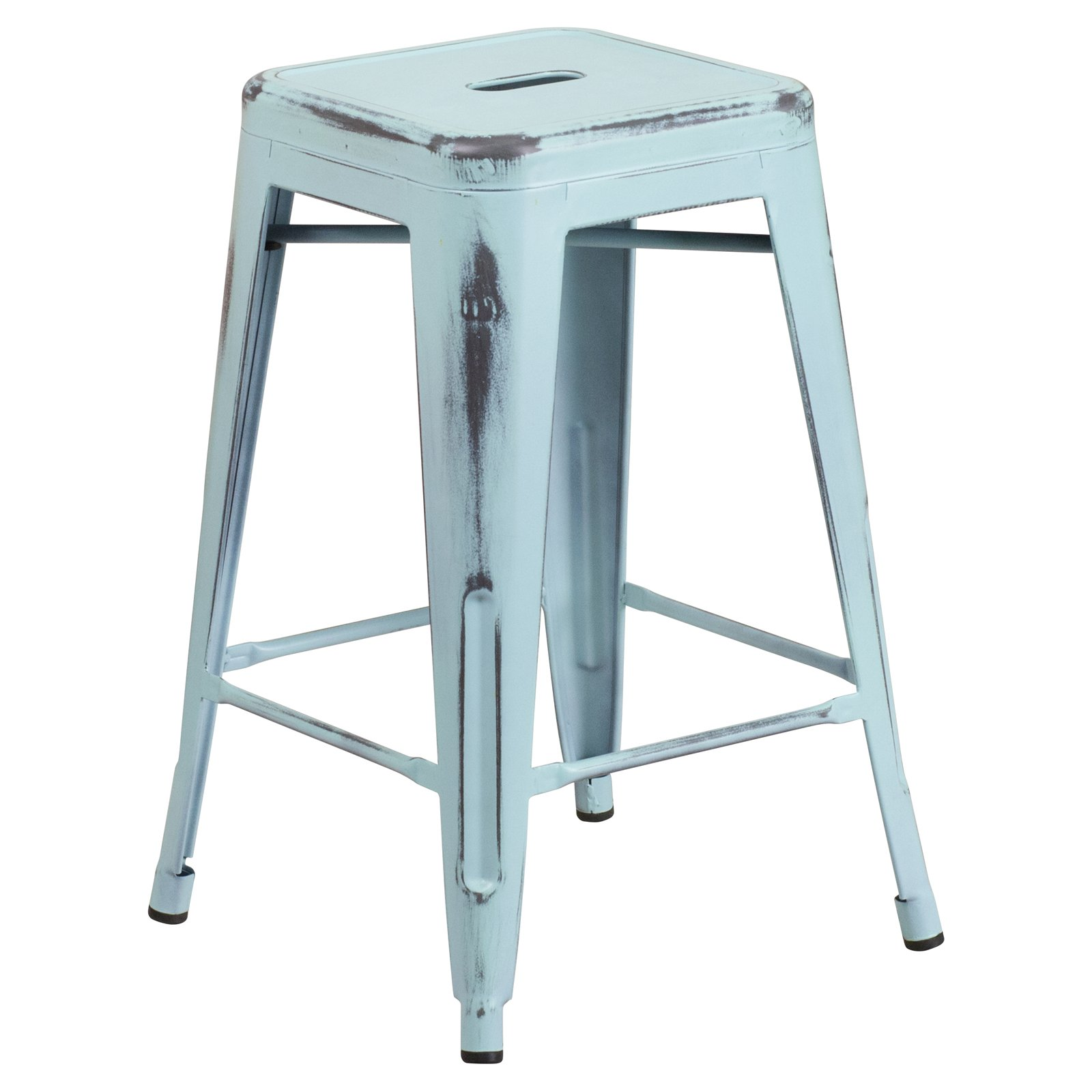 Flash Furniture 24'' High Backless Distressed Metal Indoor-Outdoor Counter Height Stool Multiple Colors