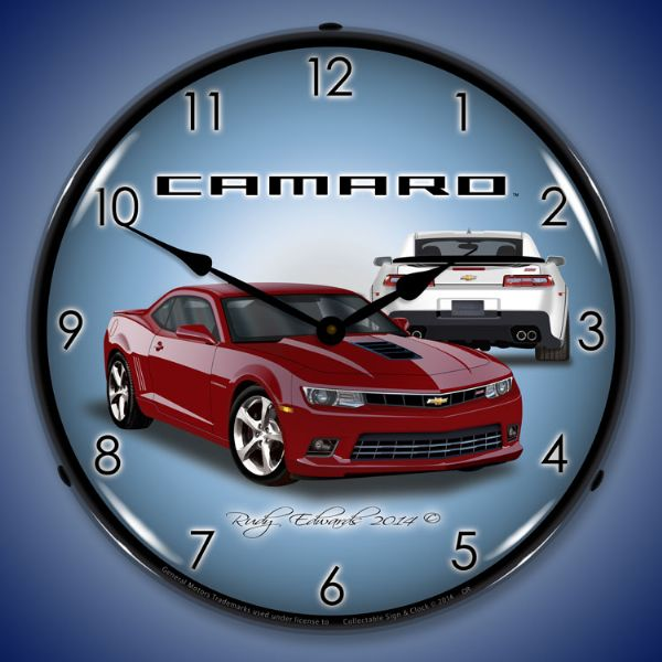 2014 SS Camaro Crystal Red Wall Clock, Lighted