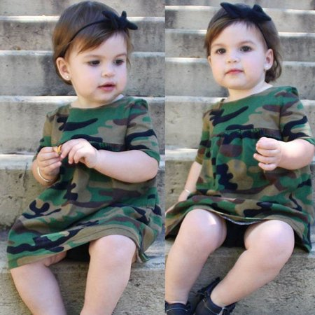Green Girl Dresses (Kids Baby Girls Toddler Army Green Camouflage Casual Short Sleeve Loose)