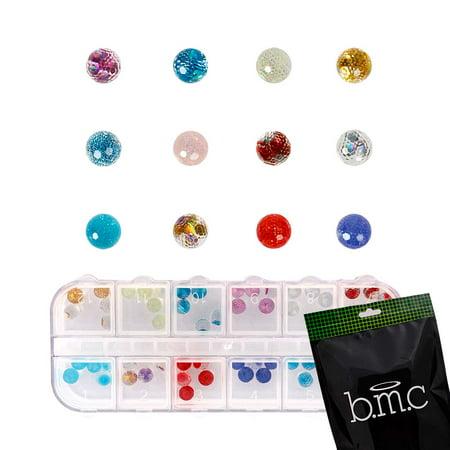 BMC 60pc Mix Color Clear Acrylic Disco Ball DIY 3D Nail Art Stud Decoration Set - Halloween Disco Music Mix
