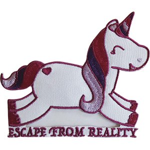 Unicorn Merchandise (ESCAPE FROM REALITY - Embroidered Iron On PATCH, Original Unicorn Artwork, 3.2