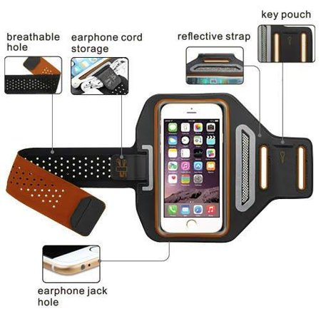 iPod Touch 6th Gen Case, Touch 5 Gen Case, Coverlab Multifunctional Outdoor Sports Armband Casual Arm Package Bag Cell Phone Bag Key Holder For iPod iTouch 5/iTouch 6 - Orange