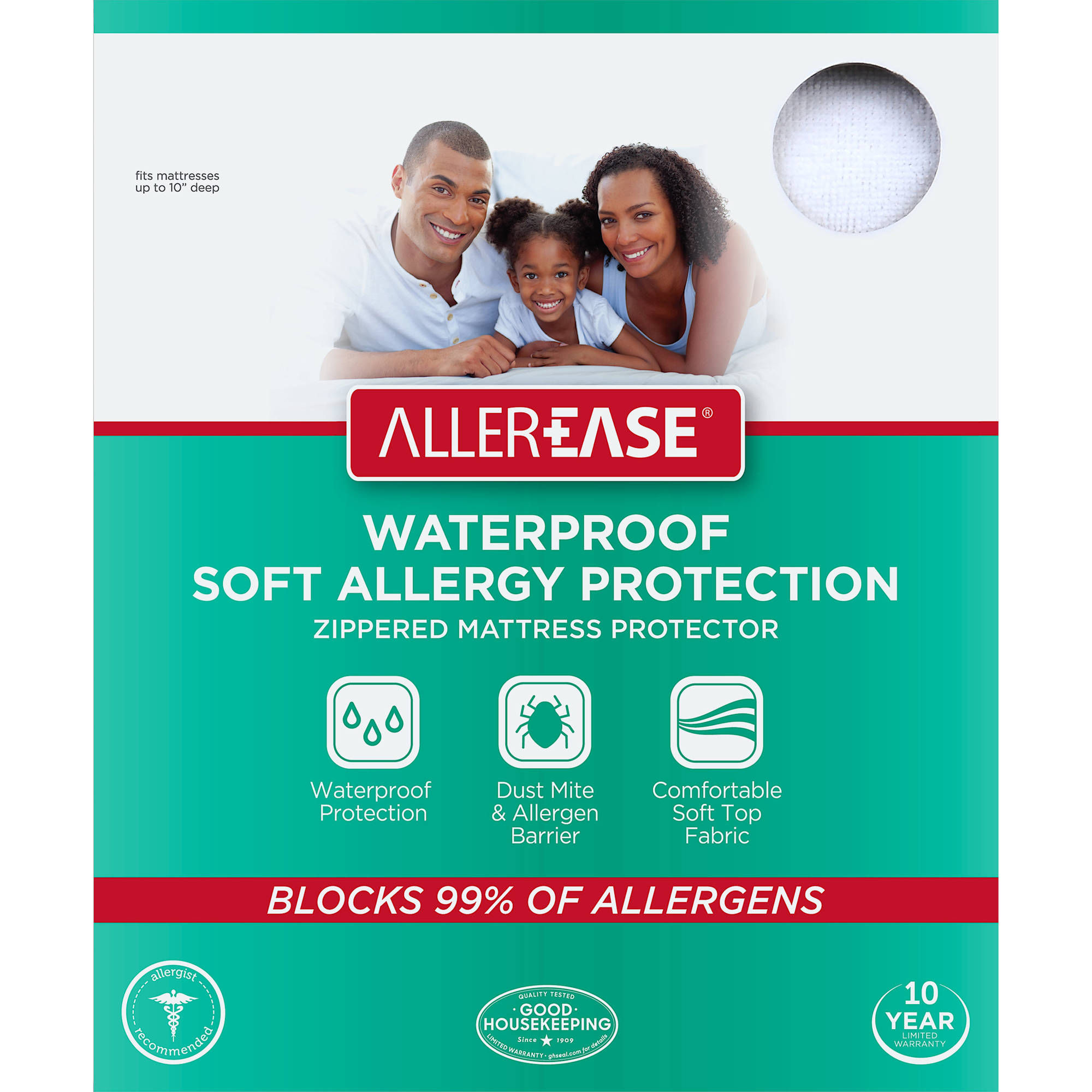 AllerEase Soft Terry Allergy Protection Waterproof Zippered Mattress  Protector, Queen